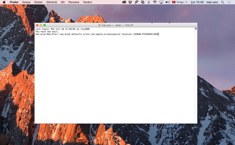 Mac'te ekran fotoğrafının kaydettiği yeri ayarlama