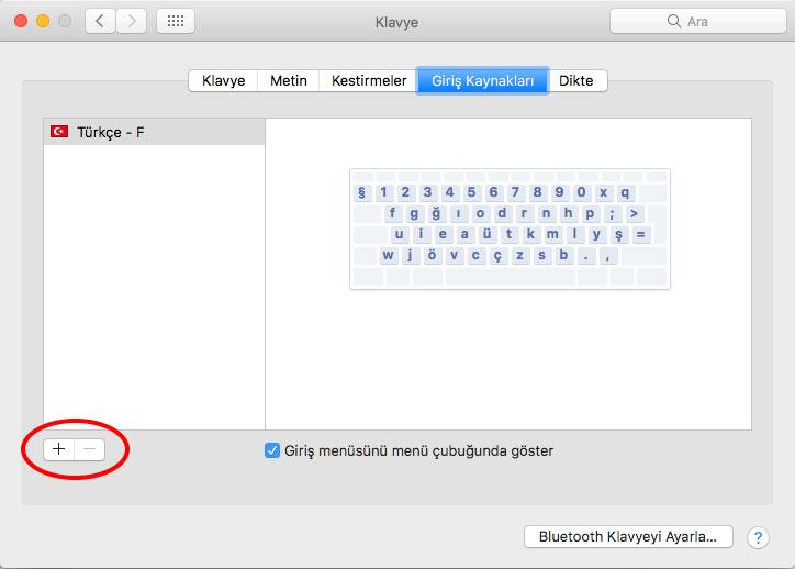Macintosh klavye eklemek