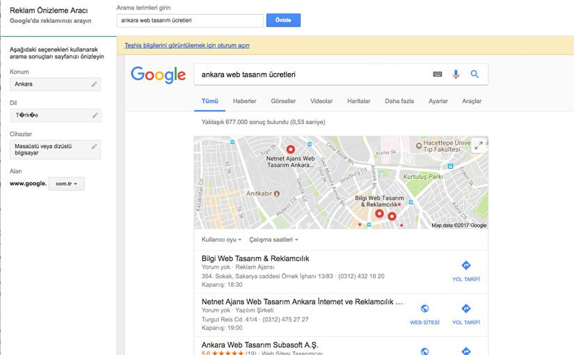 Google Reklam Önizleme Aracı