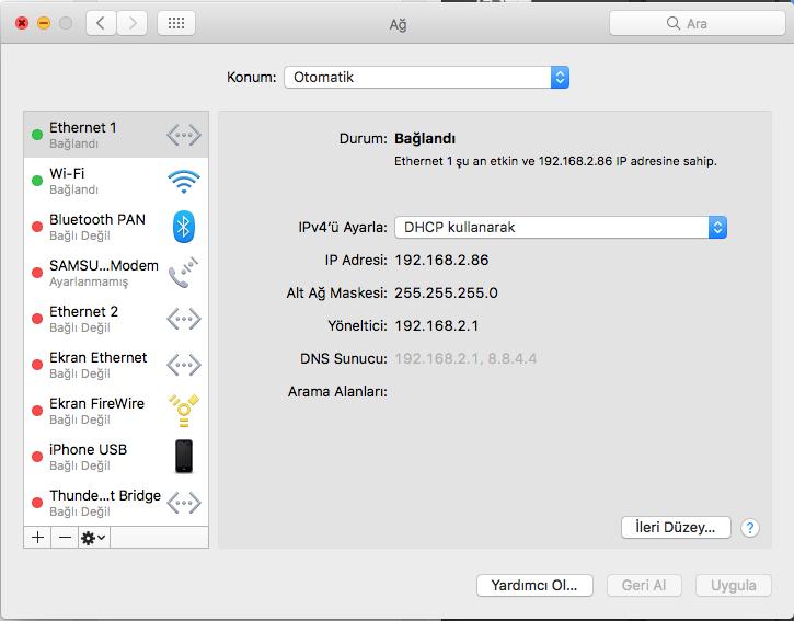 Macintosh Ag ayarları